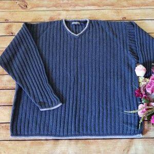 Men's Structure Blue Ribbed Sweater, XL